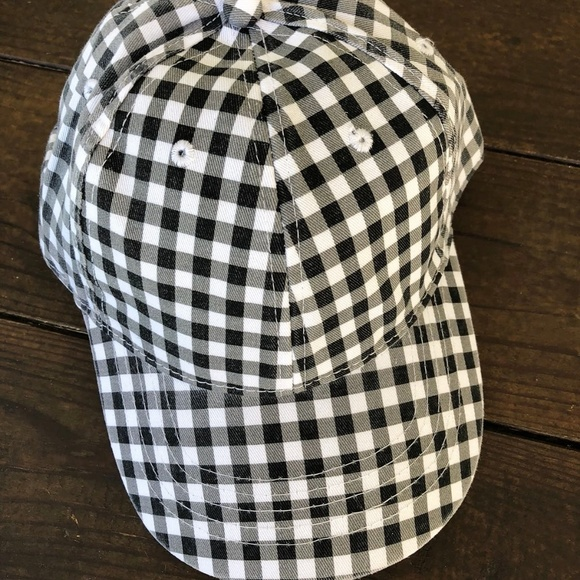 ca886ca0fbe Black and white plaid print baseball hat